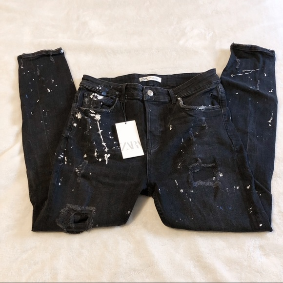 Zara Denim - Zara | Splatter Paint Black Jeans